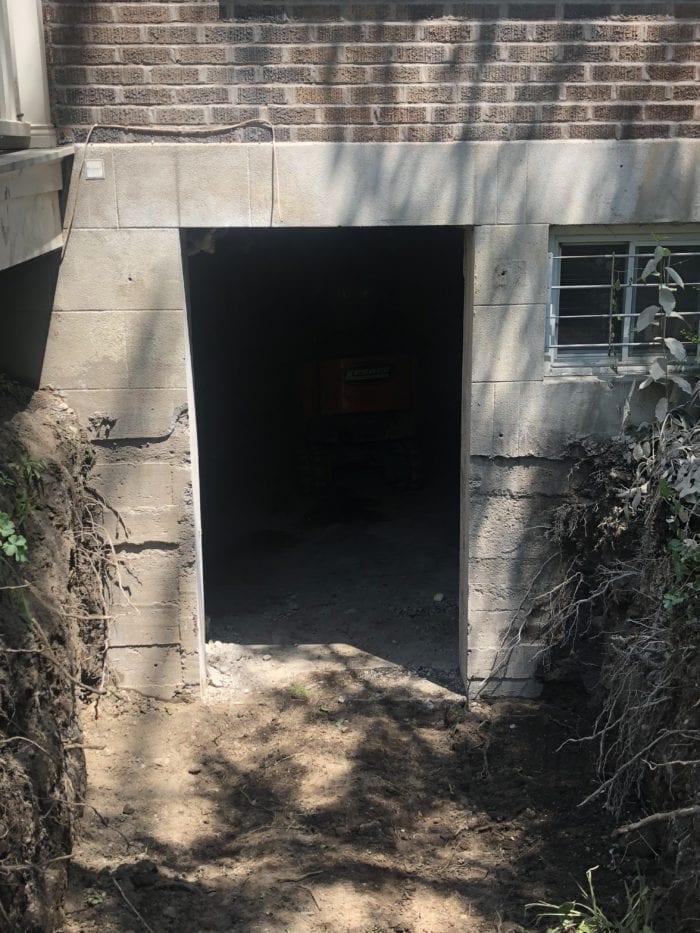 ouverture du mur de fondation